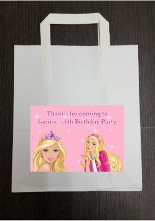 4 x Barbie Birthday Party Bags with Personalised Sticker